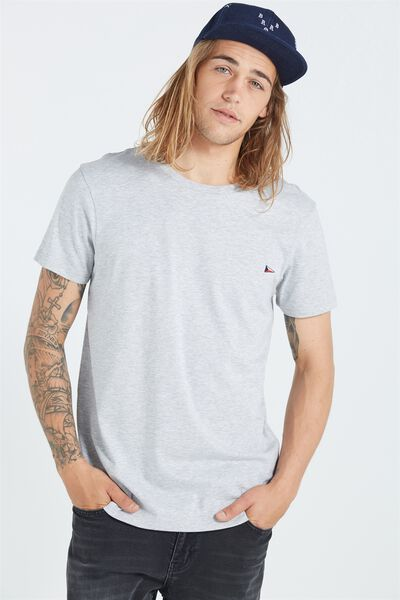 The Staple Tee, GREY MARLE/BRONX FLAG