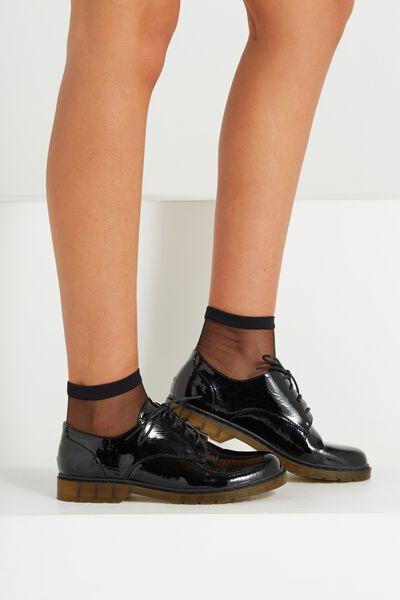 Charlie Chunky Lace Up, BLACK PATENT PU
