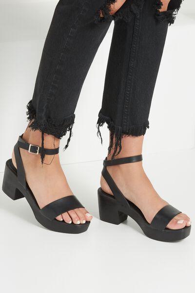 Venice Wood Heel, BLACK/BLACK