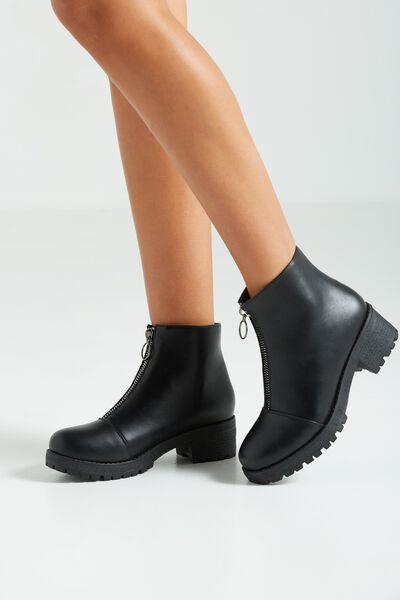 Kenickie Zip Boot, BLACK