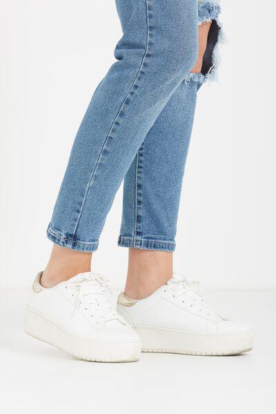 Paige Super Platform Sneaker, WHITE