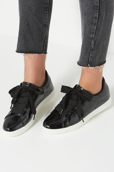 Cathryn Bow Sneaker, BLACK PATENT