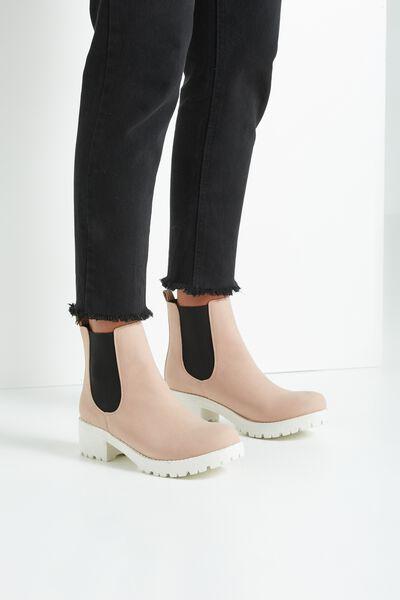 Kenickie Ankle Boot, BLUSH WHITE/BLACK