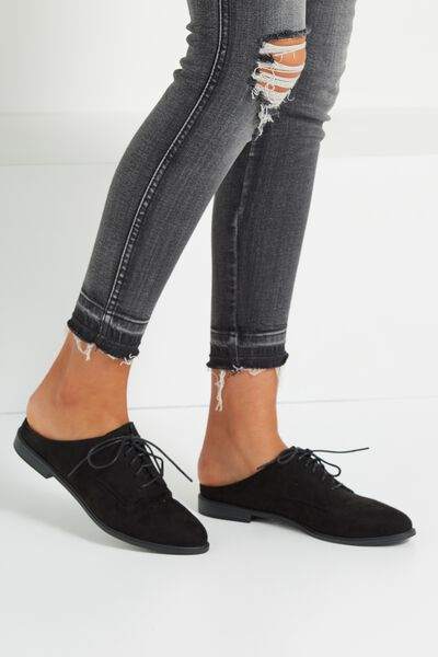 Leanne Lace Up Mule, BLACK MICRO