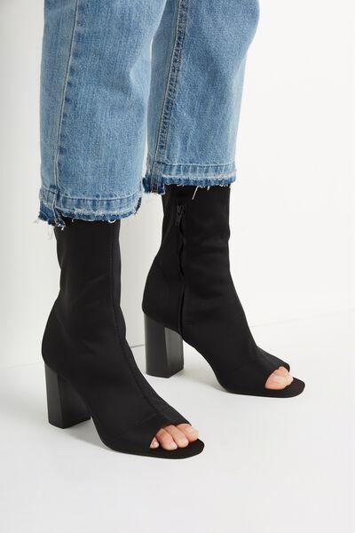 Arabella Peep Toe Sock Boot, BLACK
