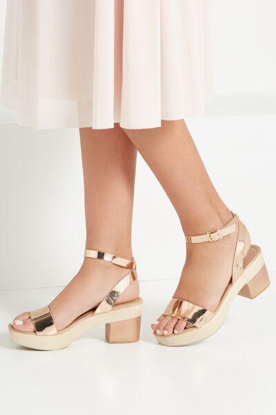 Venice Wood Heel, ROSE GOLD/NATURAL