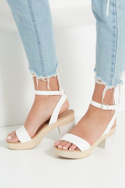 Venice Wood Heel, WHITE/NATURAL