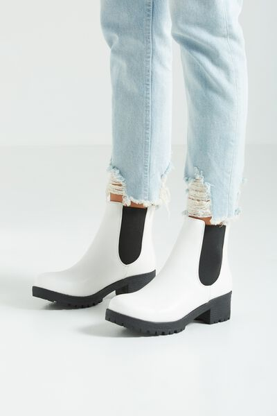 Kenickie Ankle Boot, WHITE/BLACK