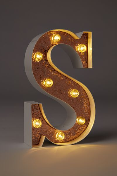 Small Letter Marquee Light, WHITE WITH ROSE GOLD GLITTER S