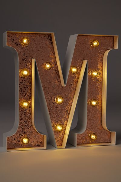 Small Letter Marquee Light, WHITE WITH ROSE GOLD GLITTER M