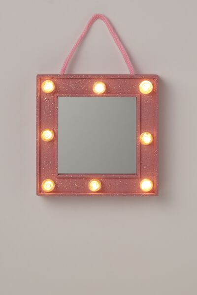 Mini Marquee Mirror, PINK GLITTER