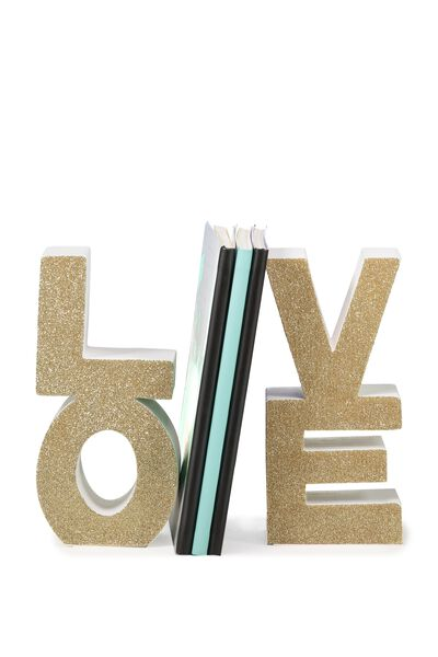 Set 2 Love Bookends, GOLD