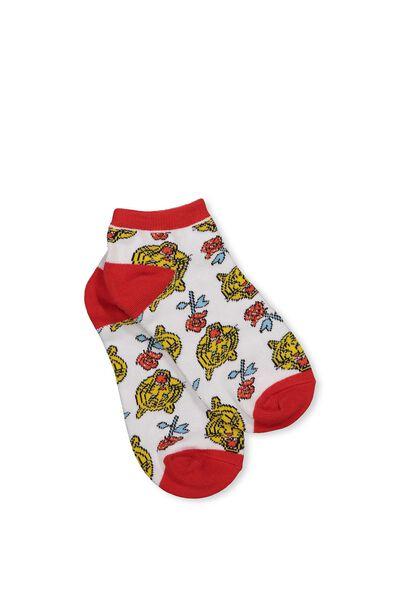 Womens Novelty Ankle Socks, TIGER ROSE