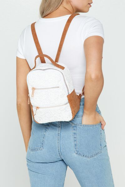 Valencia Backpack, LACE PRINT
