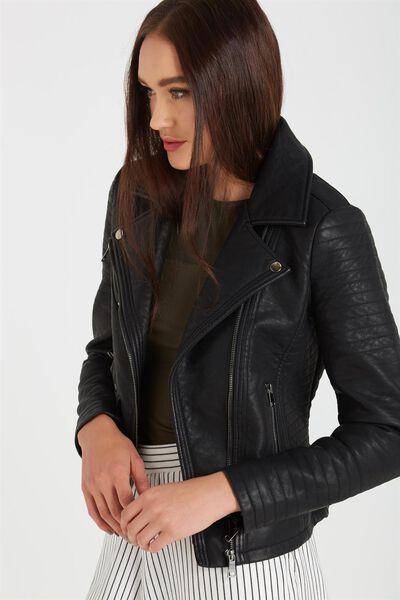 Sydney Pu Biker Jacket, BLACK
