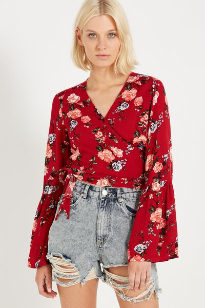 Kara Wrap Blouse, ANTIQUE FLORAL RUBY RED