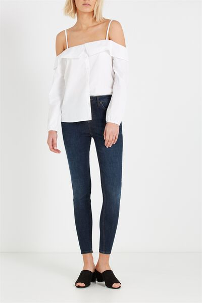 Mid Rise Push Up Skinny Jean, DARK WASH