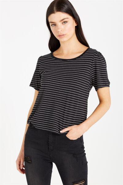 Drew Pleated Sleeve Top, FRANK STRIPE BLACK/WHITE