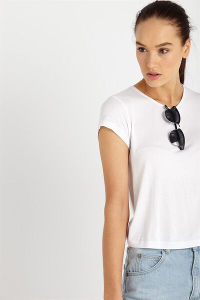Madison Cap Sleeve Top, WHITE