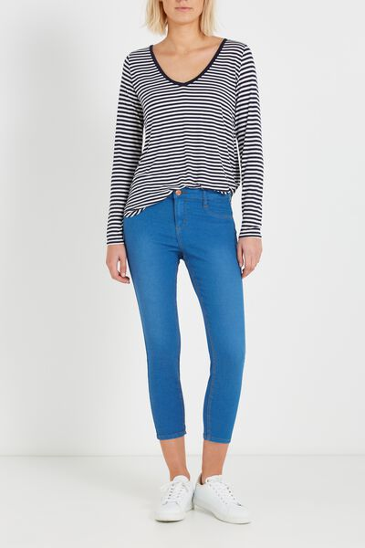Mid Rise Capri Jegging, BLUE CAST