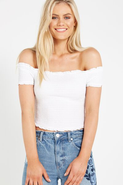 Shirred Off The Shoulder Top, WHITE