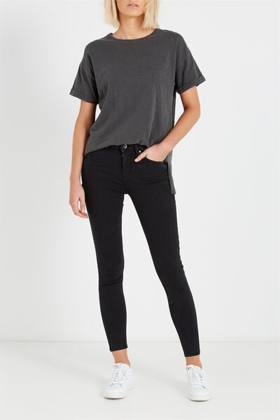 Mid Rise Push Up Skinny Jean, BLACK WASH