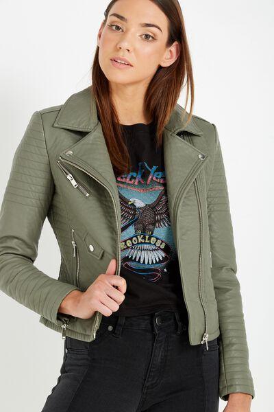 Sydney Pu Biker Jacket, KHAKI