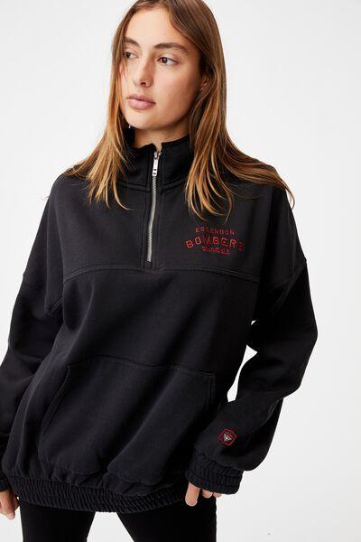 Afl Womens Fleece 1/4 Zip Jumper, ESSENDON