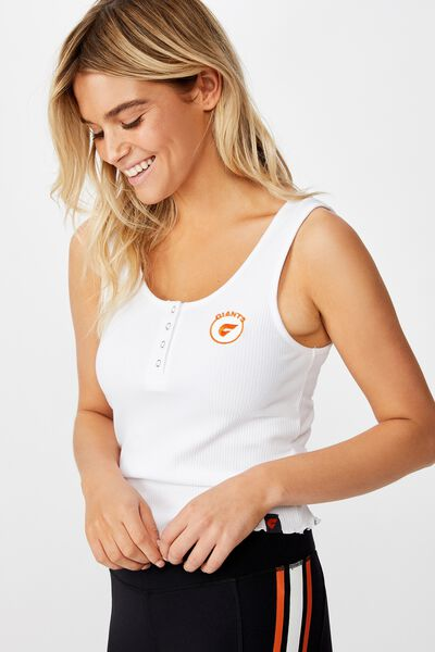 Afl Ladies Rib Henley Tank, GWS