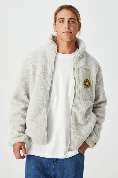 Afl Mens Teddy Bomber Jacket, HAWTHORN