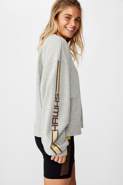 Afl Ladies Oversized Chopped Crew, HAWTHORN