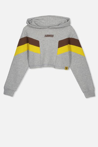 Afl Girls Retro Panel Chopped Hoody, HAWTHORN