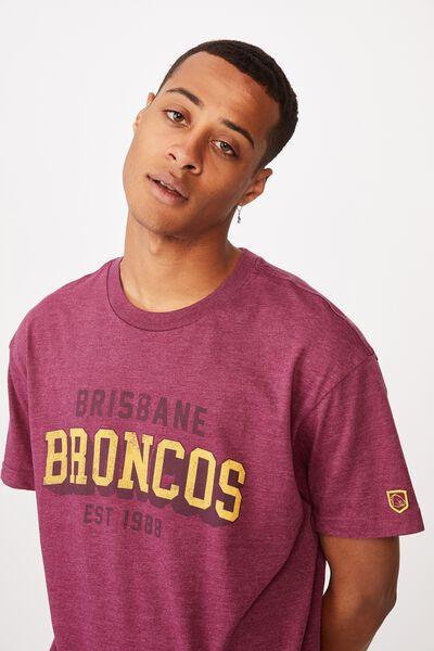 Nrl Mens College Block T-Shirt, BRONCOS