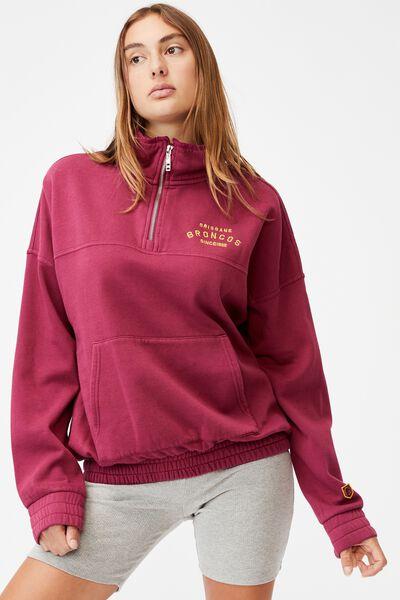 Nrl Womens Fleece 1/4 Zip Jumper, BRONCOS