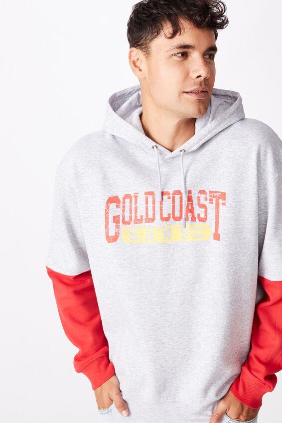 Afl Mens Panel Hoodie, GOLD COAST