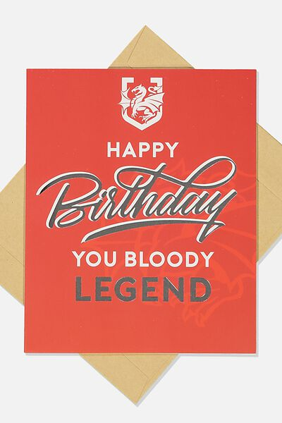 Nrl Legend Greeting Card, DRAGONS
