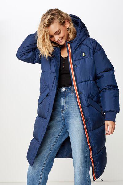 Afl Ladies Long Line Puffer Jacket, ADELAIDE
