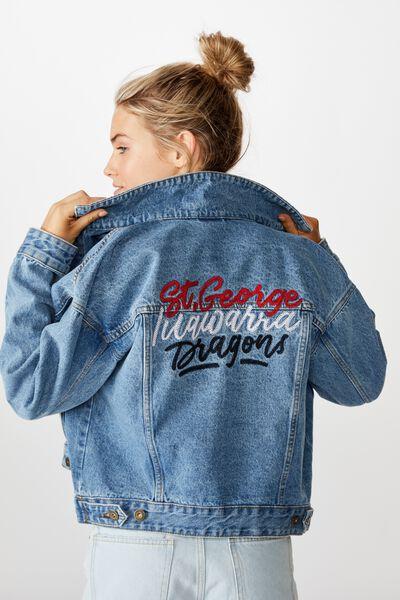 Nrl Womens Cropped Denim Jacket, DRAGONS