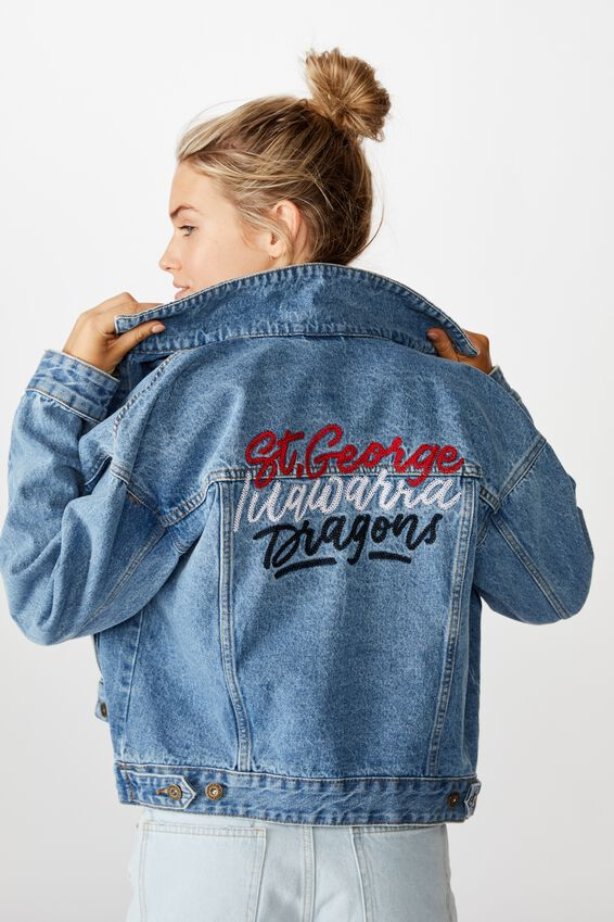 NRL Womens cropped denim jacket - DRAGONS, DRAGONS
