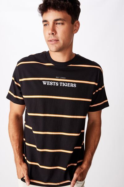 Nrl Mens Stripe Logo T-Shirt, WESTS TIGERS