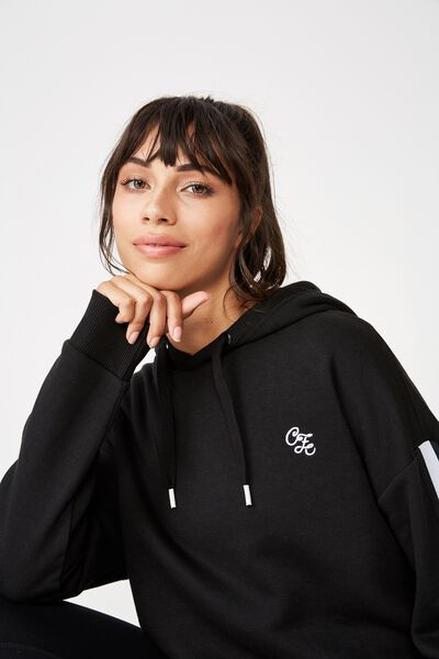 Afl Ladies Long Line Fleece Hoody, COLLINGWOOD