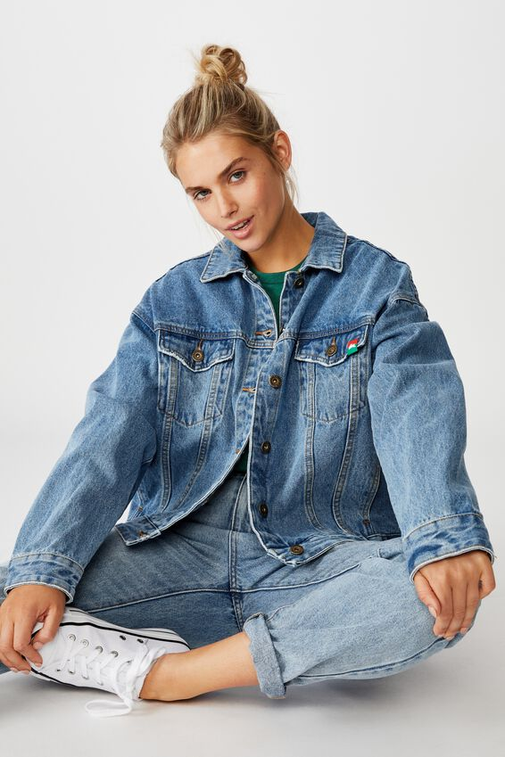 NRL Womens cropped denim jacket - RABBITOHS, RABBITOHS
