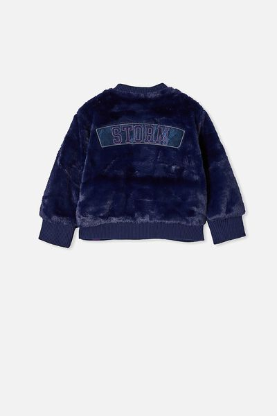 Nrl Kids Fur Bomber Jacket, STORM