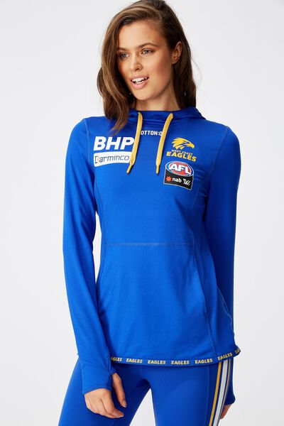 Aflw 2020 Ls Hooded Performance Top - Womens, WEST COAST EAGLES