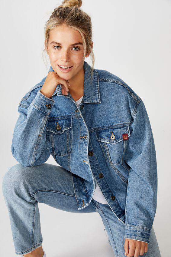 NRL Womens cropped denim jacket - BRONCOS, BRONCOS