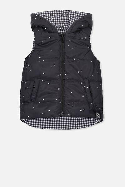 Afl Kids Reversible Puffer Vest, COLLINGWOOD