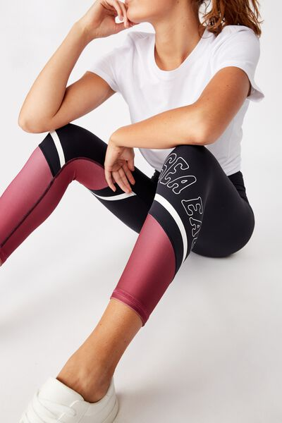Nrl Womens Contrast Panel Leggings, SEA EAGLES