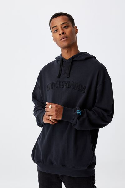 Afl Mens Embroidered Hoodie, PORT ADELAIDE