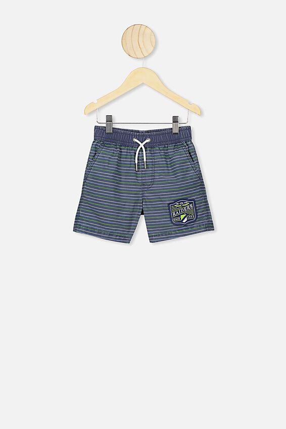 Nrl Boys Stripe Board Short, RAIDERS