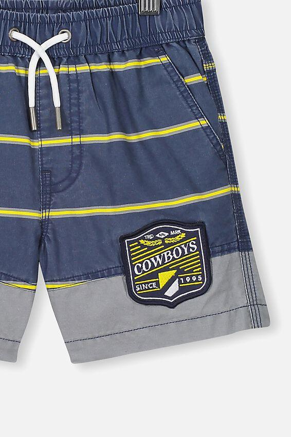 Nrl Boys Stripe Board Short, COWBOYS
